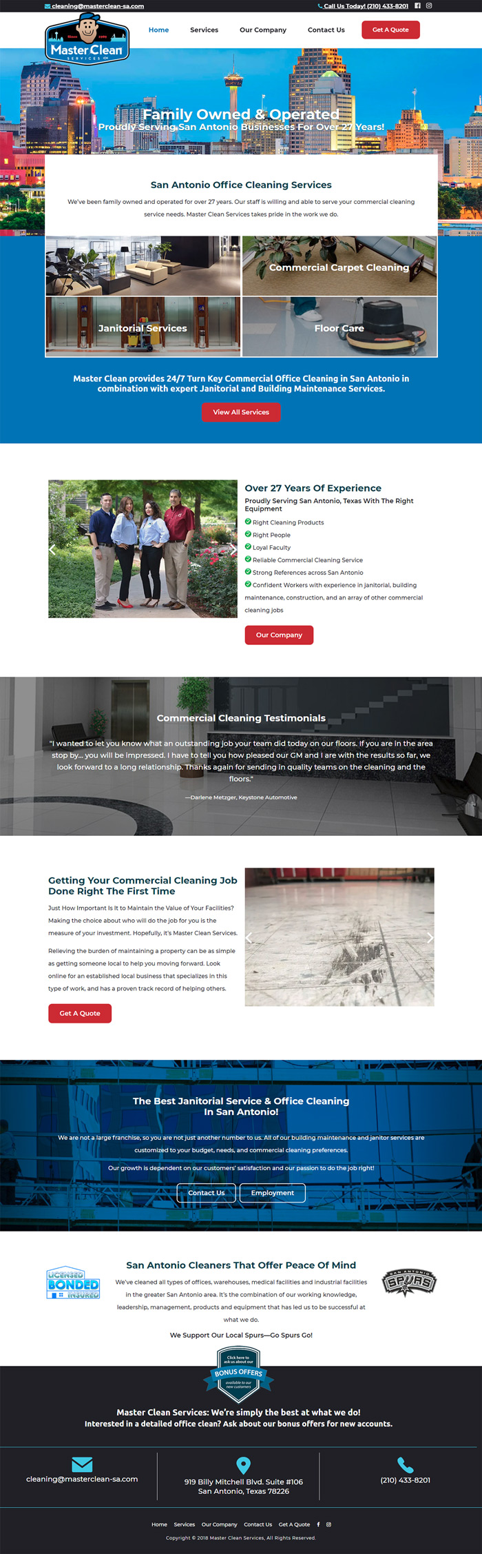 Master Clean Services website design San Antonio